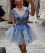 Blue round neck lace short prom dress, blue tulle evening dress