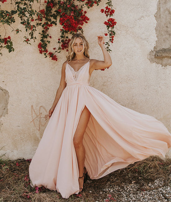 Light pink chiffon long prom dress, evening dress