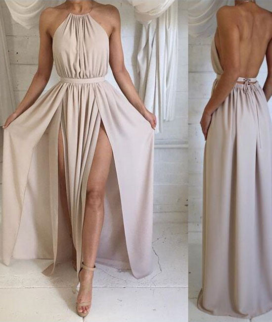 Simple A-line Backless Chiffon Long Prom Dresses, Formal Dresses