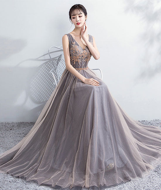 Champagne v neck tulle lace long prom dress, evening dress - shdress