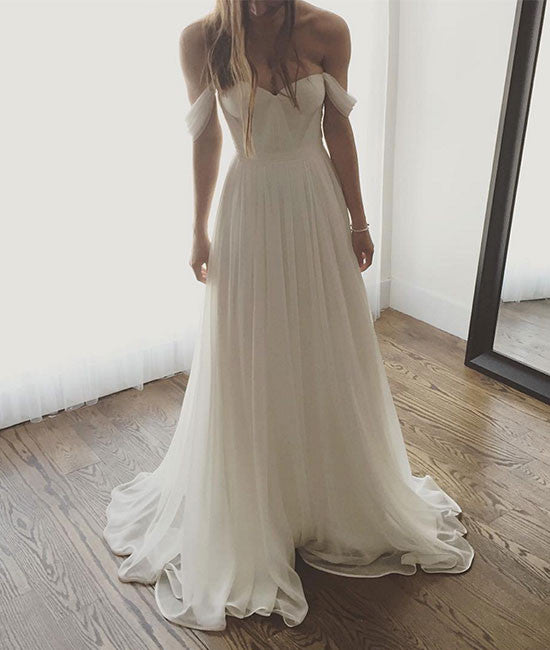 Simple sweetheart neck chiffon white long prom dress, bridesmaid dress