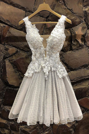Gray tulle lace short prom dress, gray tulle lace homecoming dress