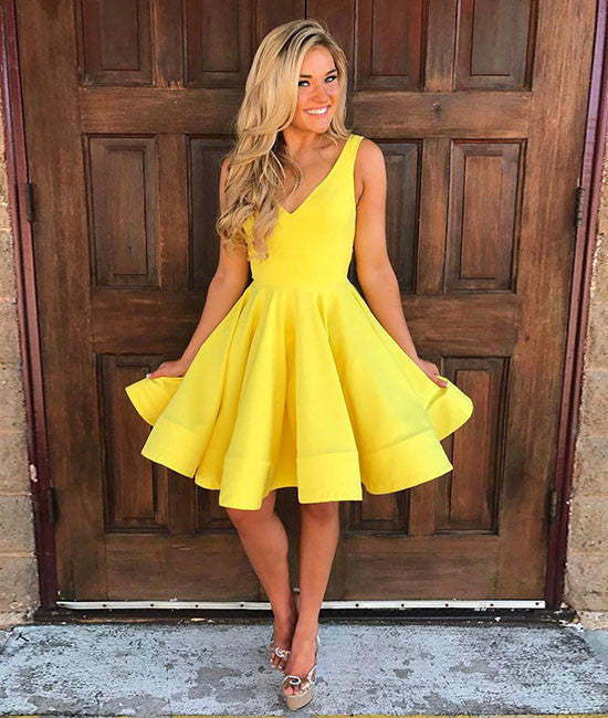 Cute yellow v neck short prom dress, yellow homecoming dress - shdress