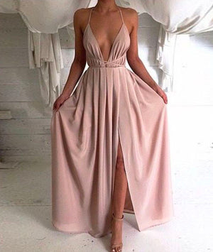 Simple A-line Chiffon Long Prom Dress, Evening Dress - shdress