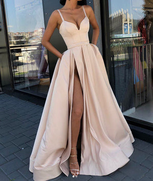 Champagne sweetheart satin long prom dress, champagne evening dress - shdress