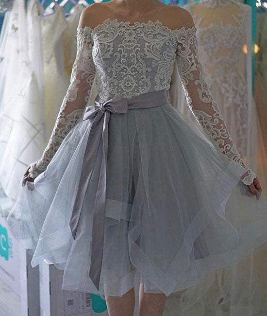 Cute gray lace short prom dress. cute gray homecoming dress
