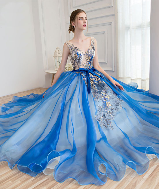 Royal blue tulle applique long prom dress, blue evening dress