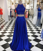 Blue two pieces long prom dress, blue evening dresses