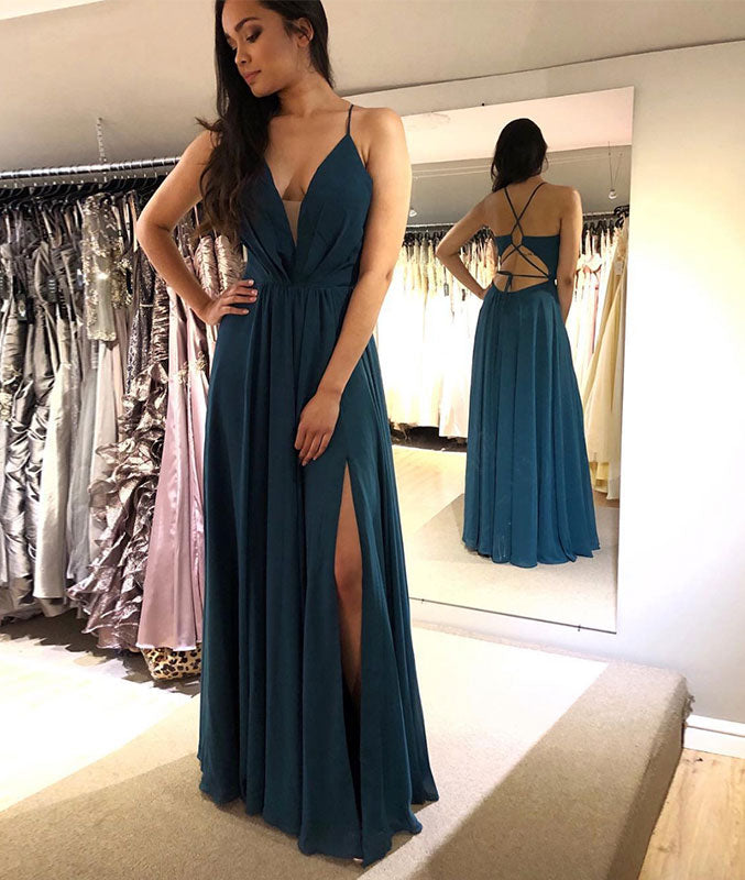 Green v neck chiffon long prom dress, green evening dress - shdress