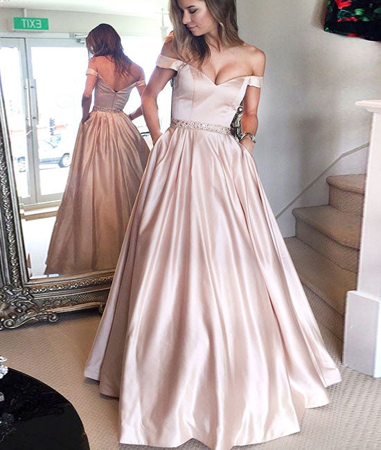 Cute off shoulder long prom dress, long formal dress - shdress