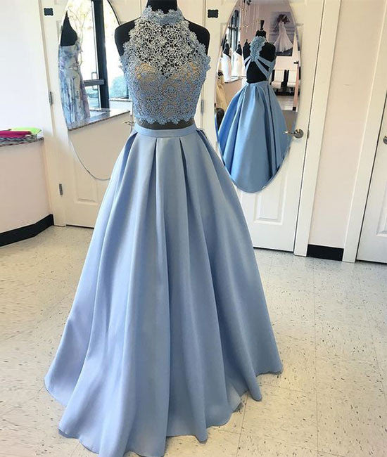 Blue two pieces lace long prom dress, blue lace evening dress - shdress