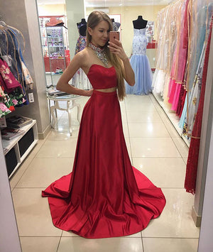 Red two pieces sequin long prom dress, red evening dress - shdress