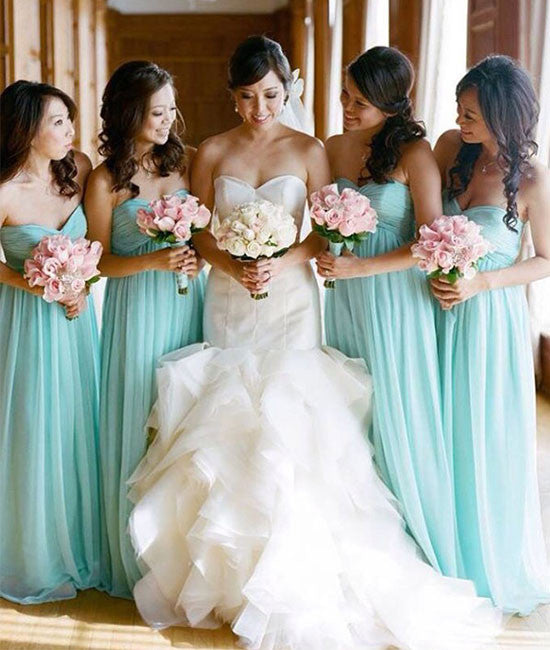 Simple sweetheart neck green long prom dress, green bridesmaid dress - shdress