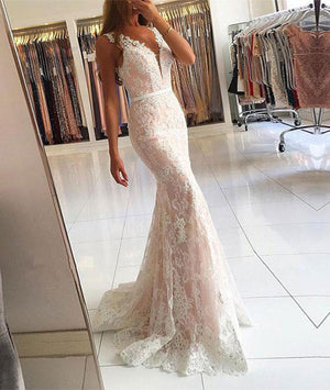 White v neck lace mermaid long prom dress, lace evening dress - shdress