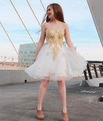 Cute white sweetheart neck lace applique short prom dress, homecoming dress