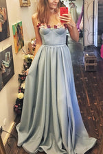 Blue sweetheart long prom dress, blue evening dress