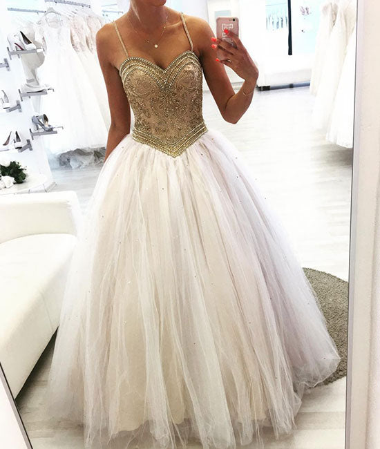 Unique sweetheart neck tulle beads long prom dress, tulle formal dress