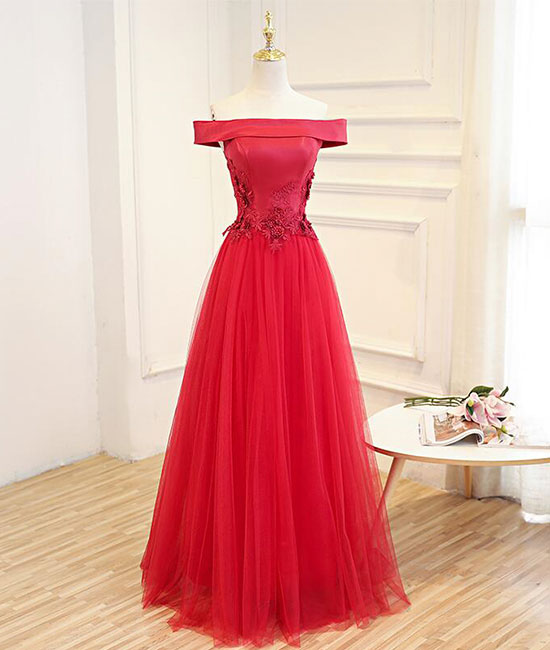 Simple red tulle lace applique long prom dress, red evening dress