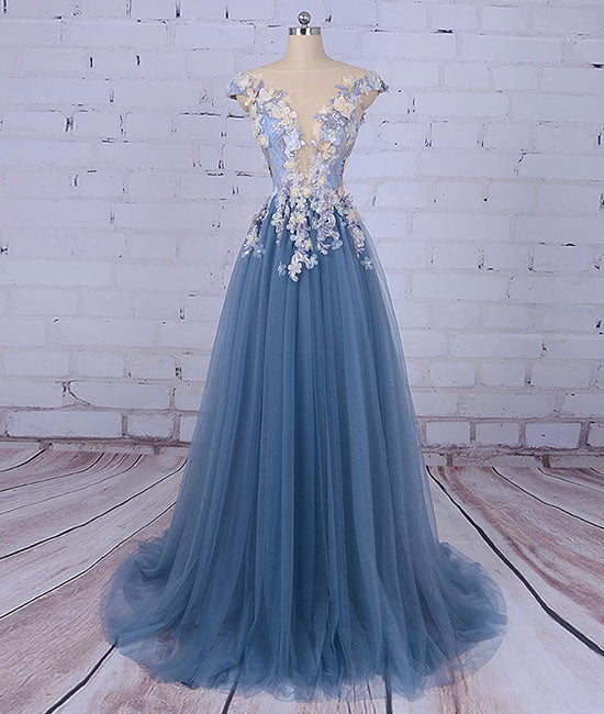 Unique round neck applique tulle long prom dress, tulle evening dress