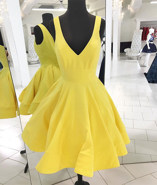 Yellow v neck satin short prom dress, yellow homecoming dress