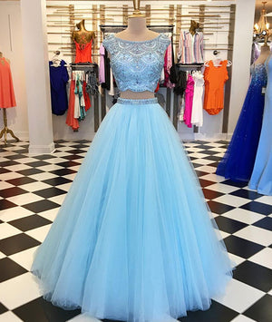 Blue two pieces tulle blue long prom dress, blue tulle evening dress - shdress