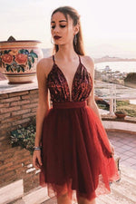 Simple v neck tulle burgundy short prom dress, burgundy evening dress