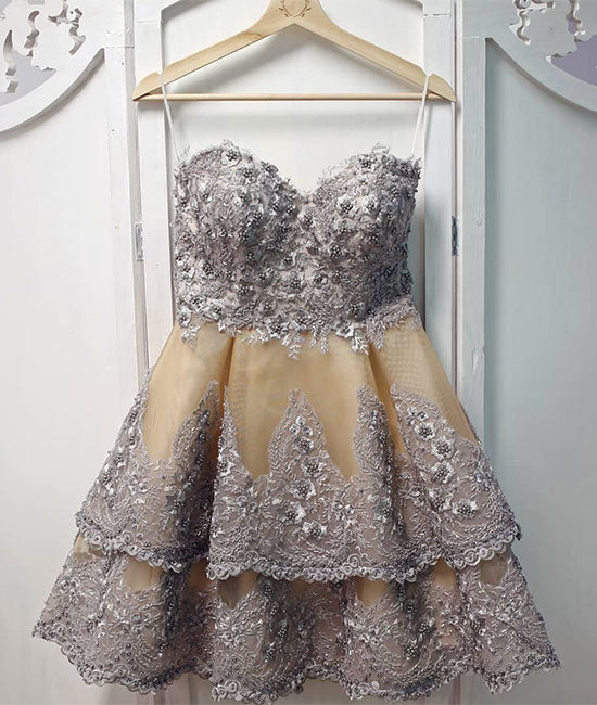 Unique sweetheart neck lace short prom dress, gray homecoming dress - shdress
