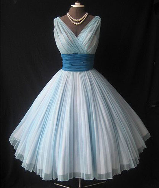 Cute retro v neck blue short prom dress, bridesmaid dress