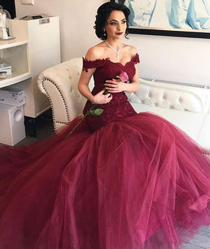 Burgundy tulle sweetheart neck lace long prom dress, evening dress - shdress