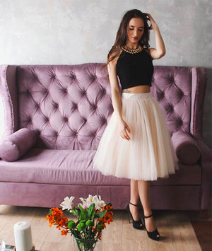 Cute two pieces champagne tulle short prom dress, cute homecoming dress - shdress