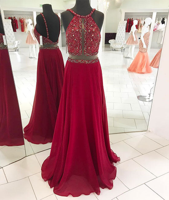 Red backless beads long prom dress, red evening dress - shdress