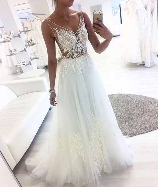 White Round Neck Tulle Lace Long Wedding Dress White: Unique Round Neck High-low Prom Dresses For Teens, Evening