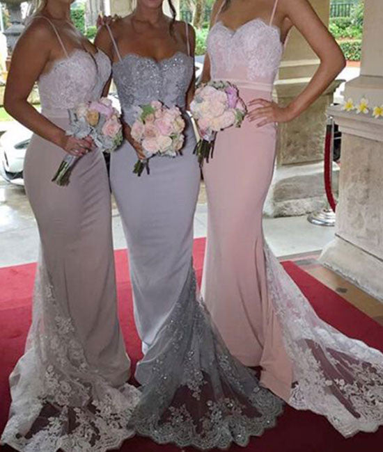Sweetheart lace strapless mermaid long prom dress, lace bridesmaid dress - shdress