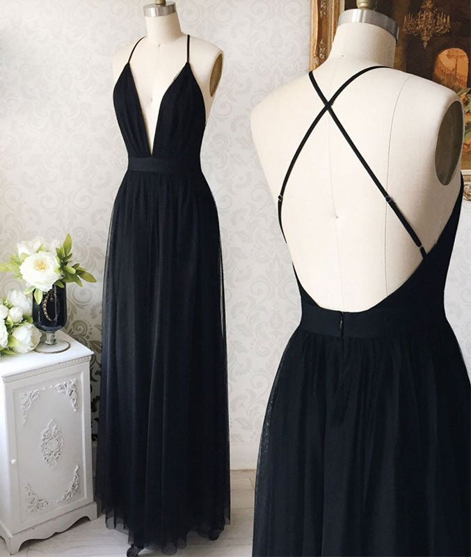 Simple v neck black tulle long prom dress, black evening dress - shdress