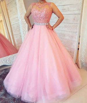 2e9eaaf5a1a Pink round neck tulle lace long prom dress. pink evening dress – shdress