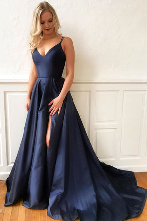 Dark blue satin long prom dress, blue evening dress