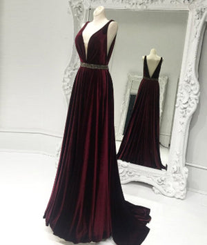 Burgundy v neck long prom dress, burgundy evening dress - shdress