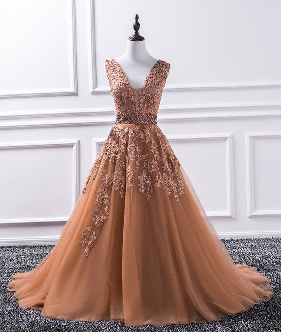 Champagne v neck tulle lace applique long prom dress, evening dress - shdress