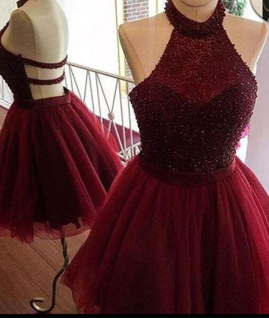 Burgundy tulle sequin short prom dress, cute homecoming dress - shdress