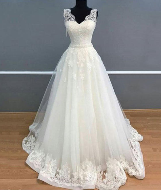 White v neck tulle lace long prom dress, white tulle lace wedding dress