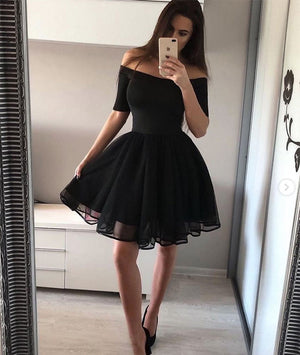 a0b9507600e Simple black short prom dress