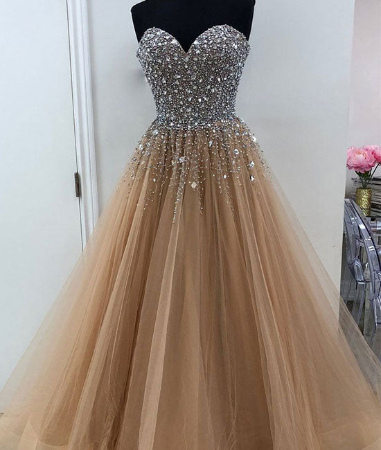 Champagne sweetheart neck tulle beads sequin long prom dress, evening dress - shdress