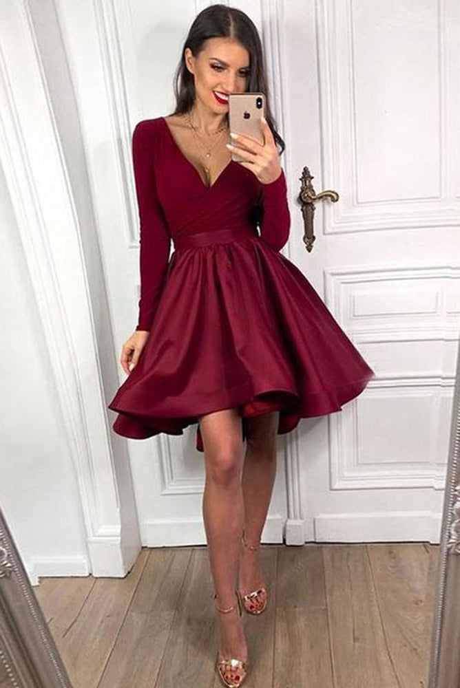 burgundy satin short prom dress, burgundy homecoming dress
