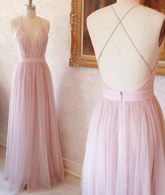 Pink v neck tulle long prom dress, evening dress - shdress