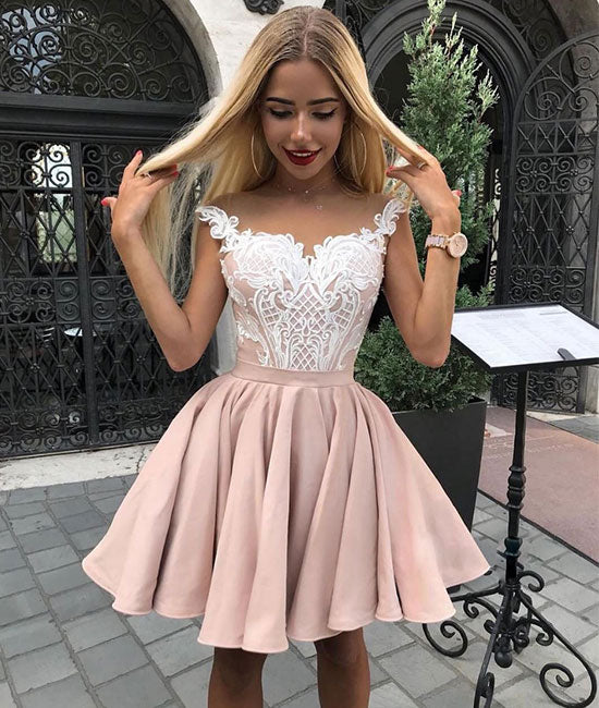 Cute pink lace short prom dress, pink homecoming dress