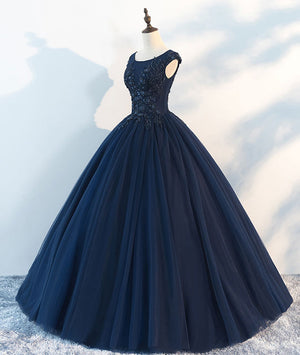 Dark blue round neck tulle lace long prom dress, blue tulle lace evening dress - shdress