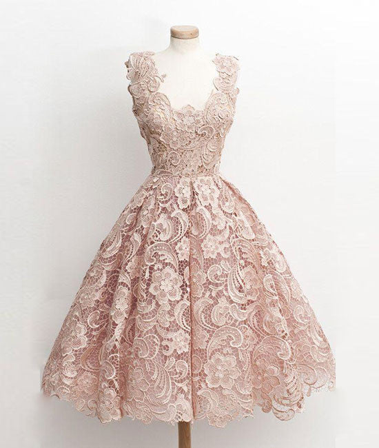 Cute light pink lace short prom dress, lace bridesmaid dress - shdress