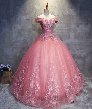 Pink sweetheart tulle lace applique long prom gown, sweet 16 dress - shdress