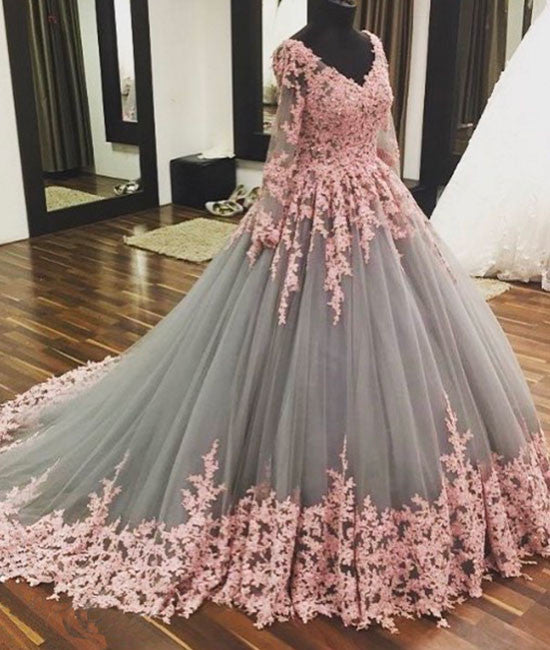 Unique v neck pink lace tulle long prom dress, pink lace tulle wedding dress - shdress