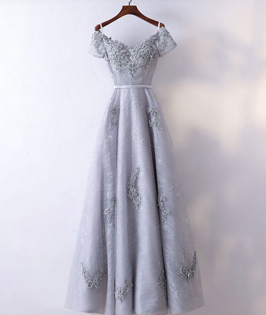 Gray v neck tulle lace applique long prom dress, lace evening dress